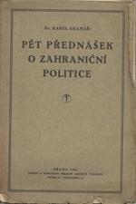 Kramář: Pět přednášek o zahraniční politice, 1922