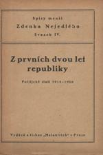 Nejedlý: Z prvních dvou let republiky : Politické stati, 1921