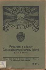Stašek: Obnova lidské společnosti : Program a zásady Československé strany lidové v Čechách, 1920