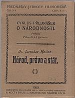 Kallab: Národ, právo a stát, 1919