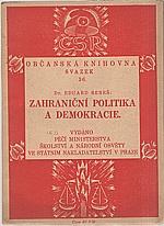 Beneš: Zahraniční politika a demokracie : problémy a metody naší zahraniční politiky, 1923