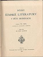 Birt: Dějiny římské literatury v pěti hodinách, 1901