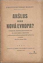 Beneš: Anšlus nebo nová Evropa?, 1931