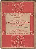 Beneš: Povaha politického stranictví, 1920
