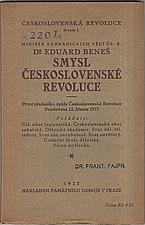 Beneš: Smysl československé revoluce, 1923
