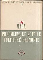 Marx: Předmluva ke kritice politické ekonomie, 1950